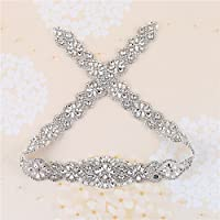 Bridal Belt Rhinestone Applique with Crystals and Pearls-Sew on or Glue for DIY Wedding Sash