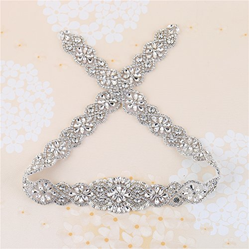 XINFANGXIU Crystal Rhinestone Appliques, 34.3 x 1.9 in, Pearls Beaded Embellishments Trim Handcrafted Elegant Sewing Hot fix for DIY Wedding Bridal Belts Sashes Prom Dresses - Silver]()
