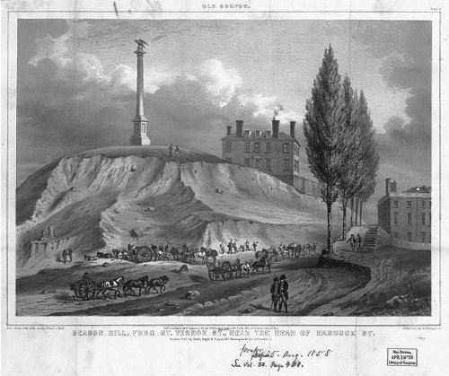 Photo: Old Boston,Beacon Hill from Mt. Vernon St. near the head of Hancock St.,c1858