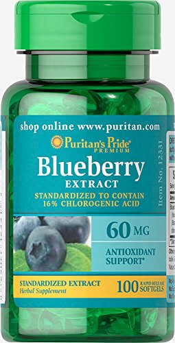 Puritan's Pride Blueberry Leaf Standardized Extract 60 mg-100 (Extract Standardized 60 Softgels)