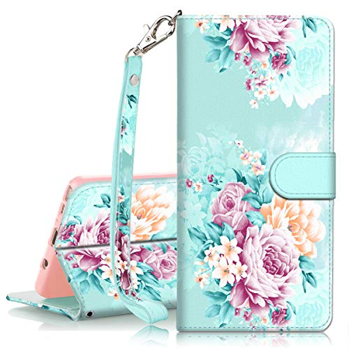 (for Samsung Glaxy Note 9 Wallet case, PIXIU Unique PU Flip Folio Leather with Kickstand,Card Slot and Hand Strap Full Body Protective Cover Case for Glaxy Note 9 Peonies Flower)
