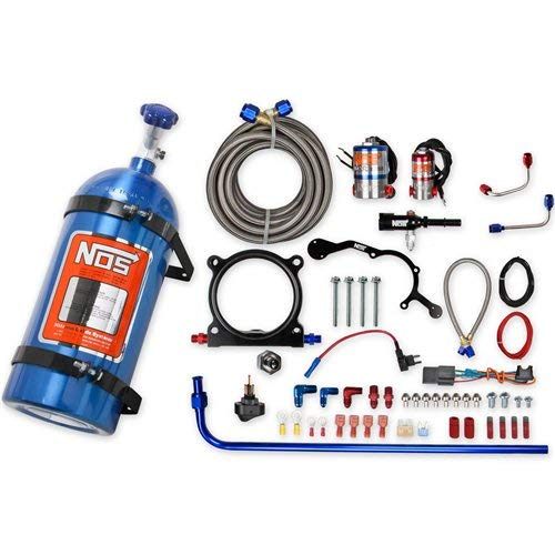 (NOS 02126NOS Complete Wet Nitrous System; Adjustable; Incl. 10 lb. Blue Bottle/Tubing/Wiring/Cheater and Cheater II Nitrous Solenoid/Gaskets/Flare Jets/0.5 in. Plate Height/Hardware;)