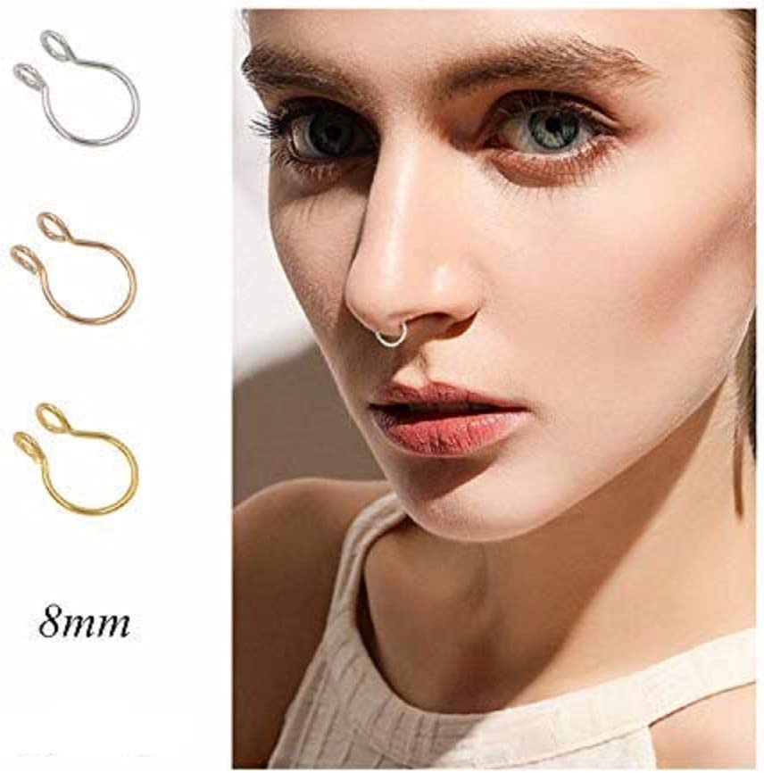 Cutedoumiao Fake Septum Nose Ring Fake Nose Rings Gold Silver Thin