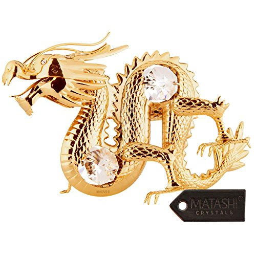 24K Gold Plated Crystal Studded Oriental Dragon Ornament by