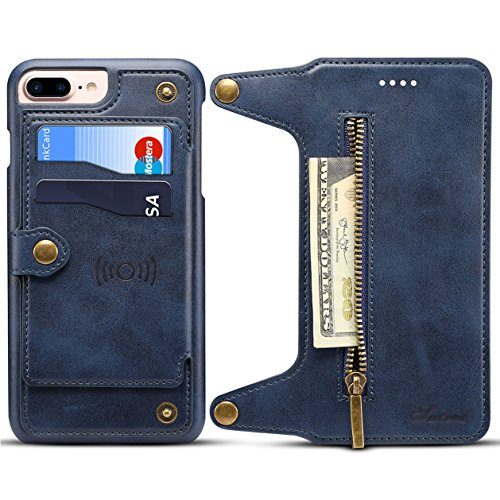 Price comparison product image iPhone7 plus case,  iphone8 plus and iphone6 plus wallet case(Blue) mobile phone case wallet flip card slot zipper cash holder function