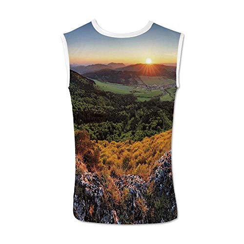 Nature Comfortable Tank Top,Balkans Slovakian Mountain Valley at Sunset Sky Surreal Landscape for Men,M