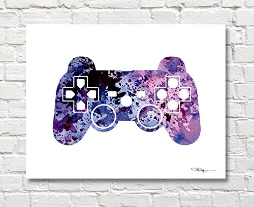 Game Controller Watercolor Art Print by Artist DJ Rogers