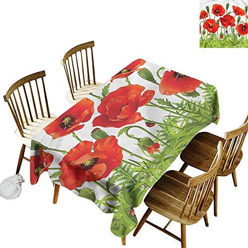 Waterproof Table Cover Ladybugs Red Poppy Flower Border Modern Minimalist 60