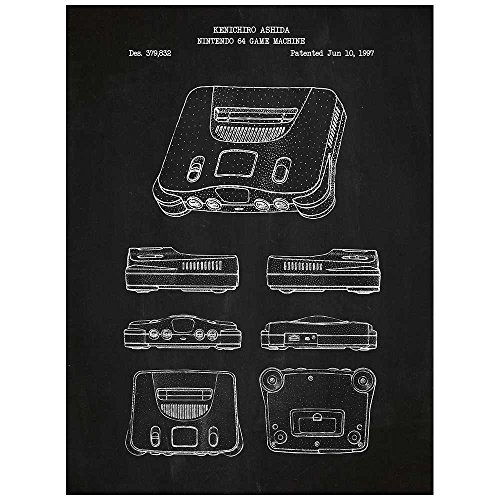 - Inked and Screened SP_VIDG_379,832_CH_24_W Video Nintendo 64 Machine N64 Game Console Print, Chalkboard-White Ink, 18