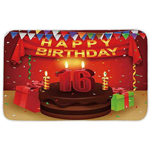 Rectangular Area Rug Mat Rug,16th Birthday Decorations,Party Celebration with Flag Ribbon Chocolate Cake Candles Print,Multicolor,Home Decor Mat with Non Slip Backing