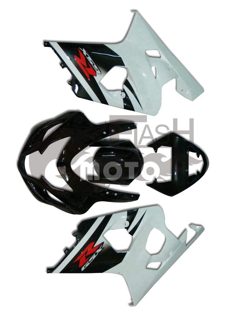FlashMoto suzuki 鈴木 スズキ GSX-R600 GSX-R750 K4 2004 2005用フェアリング 塗装済 オートバイ用射出成型ABS樹脂ボディワークのフェアリングキットセット (ブラック,ホワイト)   B07M9KR6J7