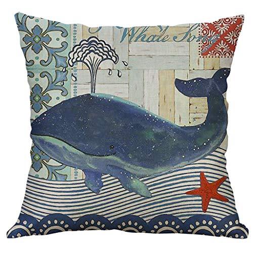 Sanmenxia Marine Life Linen Throw Pillow Case Cushion Cover Home Sofa Decorative 45x45 cm(B)