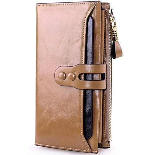 Lecxci Lady's Woman's Leather Clutch Wallets with Checkbook Holder Cell Phone Holder, Handbags for Women (Style 2, Apricot)