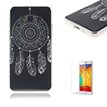 For Samsung Galaxy G530 Case [with Free Screen] Protector.Funny Clear Flexible Perfect TPU Transparent Soft Shockproof Durable Fashionable Pattern Design Protective Cover Case for Samsung Galaxy G530-Feather dream catcher