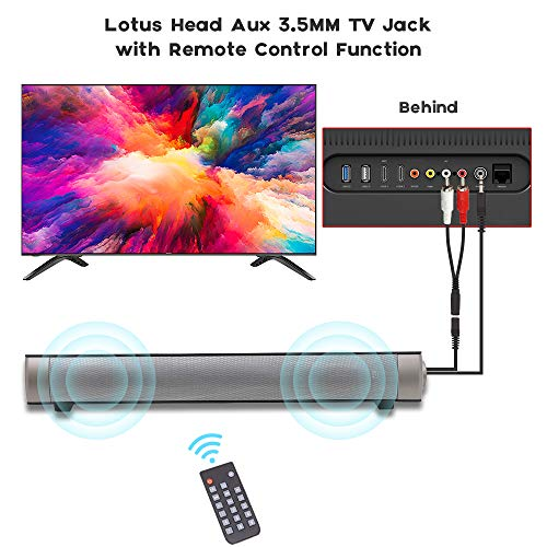 Soundbar TV Sound bar 3D Surround Sound Speaker, Mini Soundbar Home Theater with Remote Control Dual Connection Methods for TV PC Smartphones Music and Movie by Geekroom (Image #2)