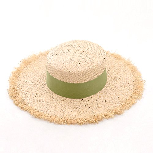 ALWLj Summer Hats for Women Raffia Straw Hats Boater Hats for Girls Beach Sun Hat with Frayed Edges,Lime