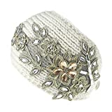 Urberry Women Knitted Headband with Crystal Dotted (White)