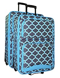 Ever Moda 2-Piece Luggage Set with Wheels, Rolling Suitcase, Grey Blue Moroccan