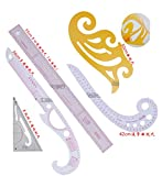 WellieSTR 5PCS Design Craft Sewing Set : French Curve,Comma Shape Curve Line Pattern Ruler ,METRIC CURVED RULER