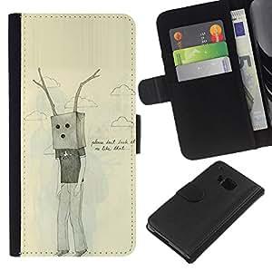 EJOY---La carpeta del tirón la caja de cuero de alta calidad de la PU Caso protector / HTC One M9 / --Bolsa Antlers triste Dibujo Emo Ugly