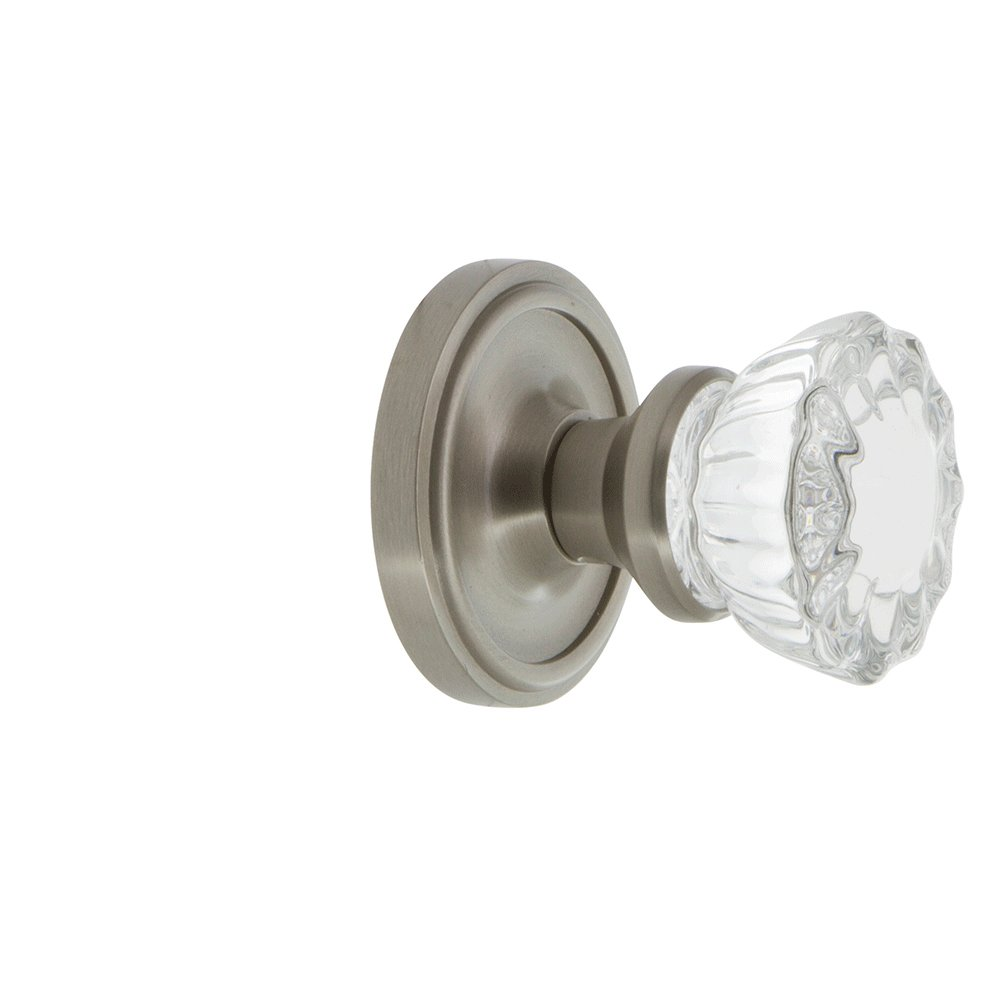 2.25 Nostalgic Warehouse Classic Rosette with Crystal Glass Door Knob 2.25 702179 Mortise Antique Brass Mortise