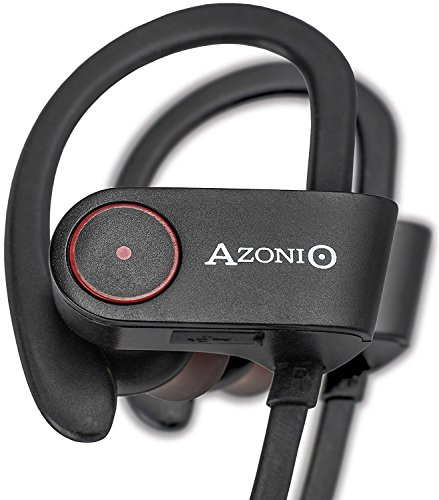 AzoniO Bluetooth Sport Headphones - Wireless Stereo Headset with Microphone and Ear Hooks - Noise Cancelling Headphones with Super Bass - Compatible with iPhone, iPad, Android and Windows Phones