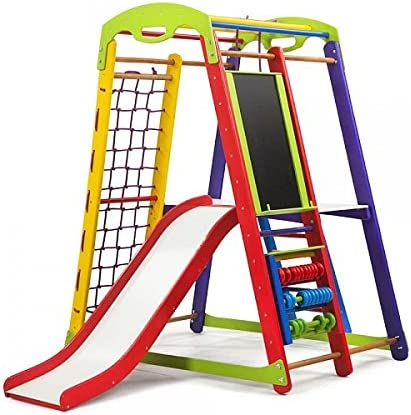 Centro de actividades con tobogán ˝Junior-Color-Plus-3˝, red de escalada, anillos, escalera sueco, campo de juego infantil: Amazon.es: Bebé