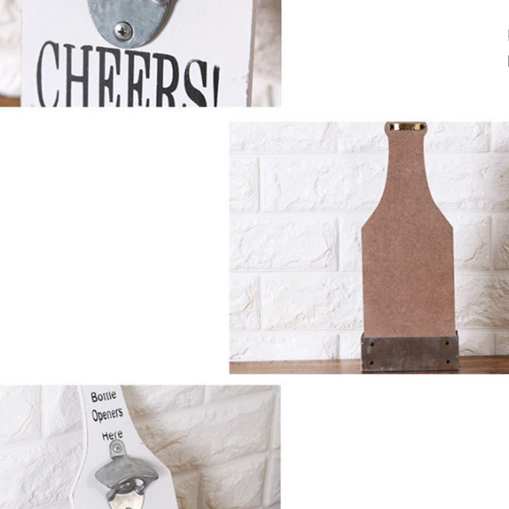 Ruiting Abrebotellas Pared,Abridor de Botella Montado de Madera con colector de la c/ápsula Colgante Retro abridor montado de la decoraci/ón de Cerveza abridor Blanco