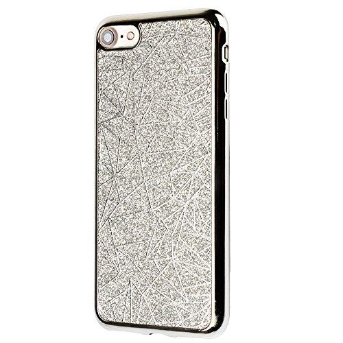 Funda para el 4.0 Apple iPhone 5/5s/SE, CLTPY iPhone 5s [Cristalino Transparente] Caja Protectora Hibrido Bling Cover para el iPhone SE + 1 Aguja Azul - Lentejuelas Rosas Geometría de Plata