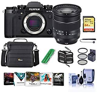 Fujifilm X-T3 Mirrorless Digital Camera with XF 16-80mm F4.0 R OIS WR Lens, Black - Bundle with 64GB SDXC Card, Camera Case, 72mm Filter Kit, Cleaning Kit, Memoery Wallet, Card Reader, PC Software Kit