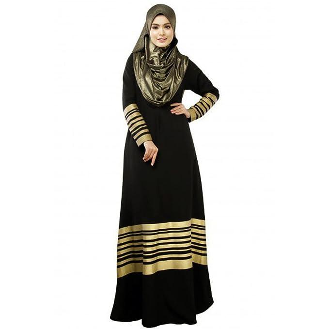 4074cbc42e91f Romacci Women Muslim Maxi Dress Stripes Long Sleeves Abaya Kaftan Islamic  Robe Long Dress Orange/Black/Dark Blue at Amazon Women's Clothing store: