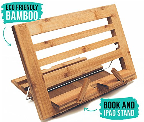 (Eco Friendly Bamboo Table Easel | iPad & Book Stand - Artist Table Easel for Kids and Adults - Wooden Book Holder for)