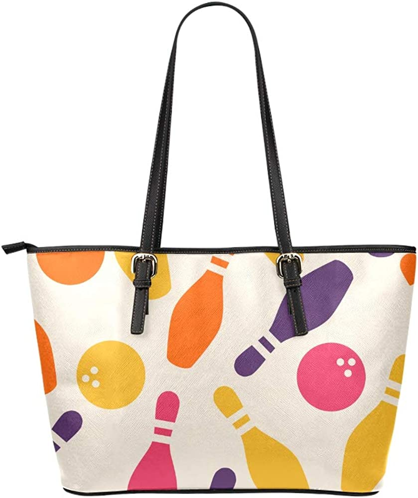 Party Bag For Women Match Retro White Sport Bowling Ball Leather Hand Totes Bag Causal Handbags Zipped Shoulder Organizer For Lady Girls Womens A Tote Bag For Women