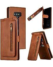 LODROC Lederen Wallet Case voor Samsung Galaxy Note 9, [Kickstand Feature] Luxe PU Lederen Wallet Case Flip Folio Cover met [Card Slots] en [Note Pockets] voor Galaxy Note9 - LOYKB0300184 Bruin
