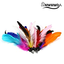 Cat Feather Teaser Toys, MOMODA Surprise 8 Pack Feather Cat Refills, Perfect Interactive Cat Wand Toys for Cat and Kitten Exercise
