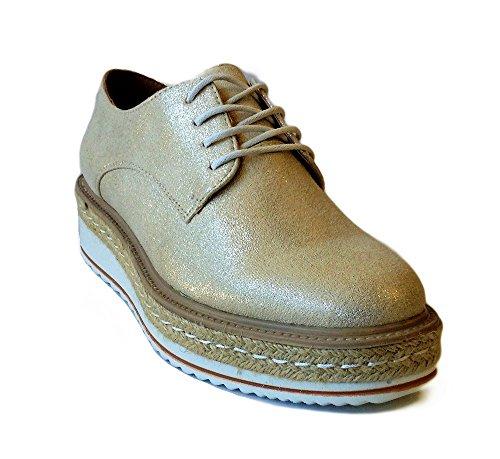 Zapato Mujer Blucher Platino Dorado