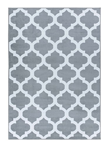 A2Z RUG Trellis Rugs Silver 120x170 cm - 3'9''x5'5'' ft Trendy Collection...