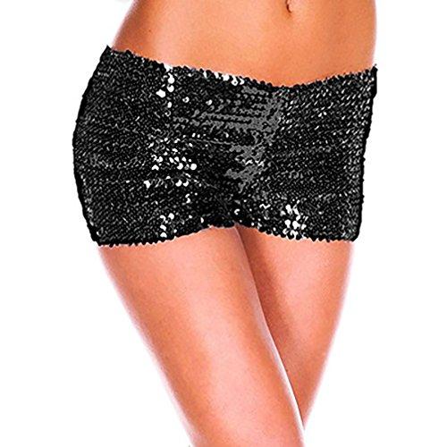 Glitter Chic Vita Donna Ballo Paillettes Nero Corti Cocktail Bicchierini Cute Pantaloncini Slim Shorts Estivi Danza Fit Pantaloni Clubwear Festa Alta FvqqpEw