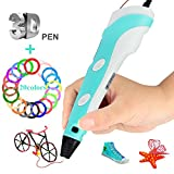 3D Pen, 3D Printing Pen Drawing Pencil for Kids& Adults +23Colors PLA Filament, Upgrade 3D Doodler Printer Pen with Bright LED Display for Arts Crafts DIY and Creating Imagination(PLA/ABS) - Blue