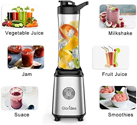Personal Blender for Shakes and Smoothies – Powerful Drink Mixer with 20 Oz To Go Bottle, Single Use Juicer with Easy One Touch Operation, Great for Sports, Travel, Gym and Office with Silicone Ice Cube Tray Bottle Brush