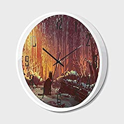 Silent Wall Clock Non Ticking Metal Frame HD Glass Cover,Fantasy Art Decor,Surreal Lost Black Cat Deep Dark in Forest with Mystic Lights Picture,for Living Room, Bedroom,Office,10inch