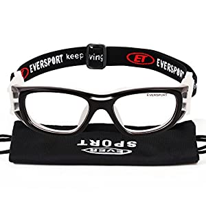 EVERSPORT Kids Sports Goggles Safety Protective Basketball Glasses for Children with Adjustable Strap for Basketball Football Volleyball Hockey Rugby (Black)
