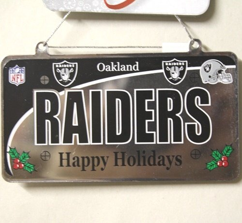 Oakland Raiders NFL License Plate Christmas Ornament