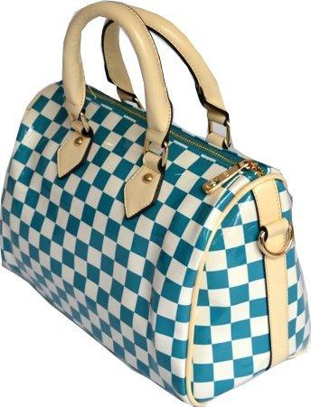 Racer Check PVC Bowler Bag Mod Ska 60s Retro Vintage Style