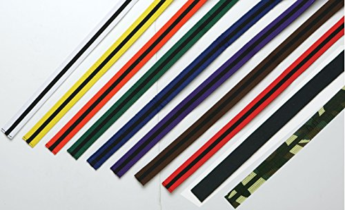 Martial Arts Color Belts with Black Stripe (WHITE, 5)