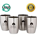 Healthy Sprouts Stainless Steel Kids Cups (4 Pack) – 8 Oz Vacuum Insulated Dual Wall Steel Sippy Cups for Toddler Baby