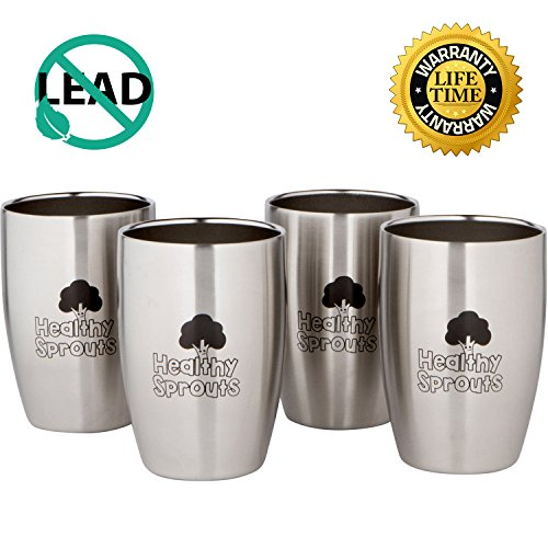 Healthy Sprouts Stainless Steel Kids Cups (4 Pack)  8 Oz Vacuum Insulated Dual Wall Steel Sippy Cups for Toddler Baby