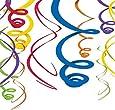 "Amscan Vivid Rainbow Plastic Swirl Decorations, 22"", Multicolor"