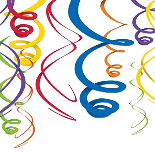 Vivid Rainbow Plastic Swirl Decorations, 12 Pieces, Made