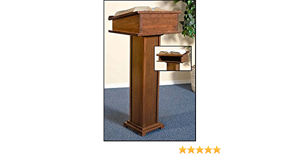 43 Inch Maple Hardwood Standing Lectern in Walnut Stain Finish
